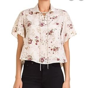 The Kooples Floral Lace-Up Silk Top
